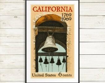 Large wall art: California, California art, California poster, California history, California bicentennial, church bells, Vintage California