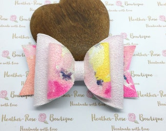 Floral Pink Faux Suede Girls Hair Bow - Nylon Headband/Hair Clip