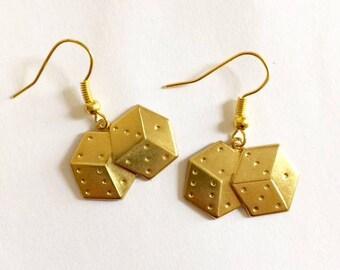 Gold Dice Earrings