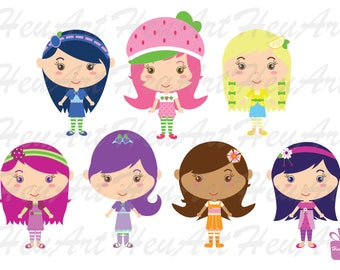 NEW Strawberry Shortcake Characters Clipart Bundle,Strawberryshortcakeandfriends,birthdayparty,party,stickers,printables,stamping,embroidery