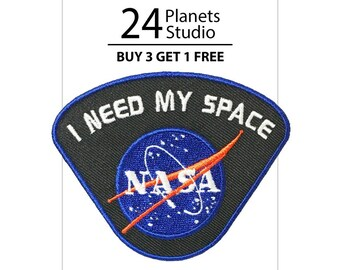 NASA I need my space - Black Iron on Patch by 24PlanetsStudio