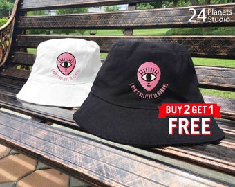 Alien One Eye I don't believe in humans Embroidered Bucket Hat by 24PlanetsStudio