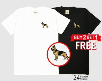 German Shepherd Dog Embroidered T-Shirt by 24PlanetsStudio