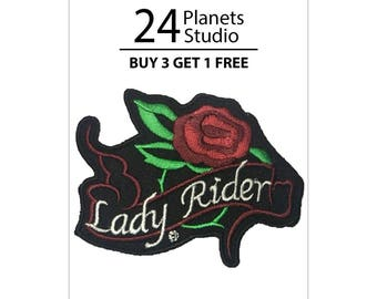 Lady Rider Rose Iron on Patch by 24PlanetsStudio