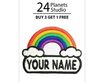 "Rainbow ""Your Name"" Iron on Patch by 24PlanetsStudio Your Text Custom Made DIY"