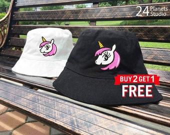 Unicorn#102 Embroidered Bucket Hat by 24PlanetsStudio