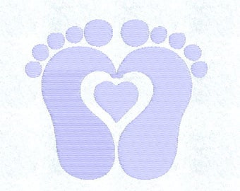 Instant Download - Machine Embroidery Pattern Design File - Heart Footprints - Fits 4x4 Hoop - MULTIPLE FORMATS