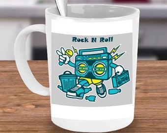 ROCK N ROLL Mug Boombox Music Lover Guitarist Drummer Bassist Songwriter Cassette Tape 15 oz White Ceramic Coffee Cup / Tea Cup / Mug!