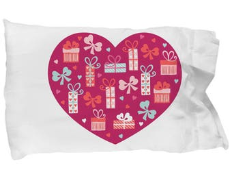 Hearts Wrapped Presents Pillowcase Bedding Bedroom Decor Valentine's Day Birthday Engagement Bridal Shower Gift
