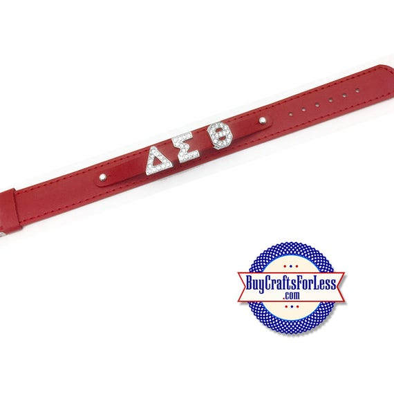 CUSTOM Double WiDE Bracelet, Red, GENUiNE LEATHER, Greek Letters +FREE Shipping & Discounts*