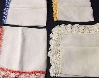 Vintage ladies' handkerchiefs, set of 4, white hankies with colorful thread crochet edging, mid-century 50s/60s.