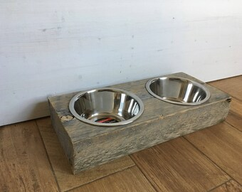 "Barnwood Stainless Steel Dog Bowls (5"" Tall)"