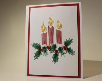 Handmade Embroidered Christmas Holiday Card With Glass Beads and Envelope