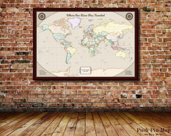 Grandson Christmas Gift, Detailed World Push Pin Map, 24x36 or 30x40 Mounted Map, 100 Push Pins, Color Scheme Options