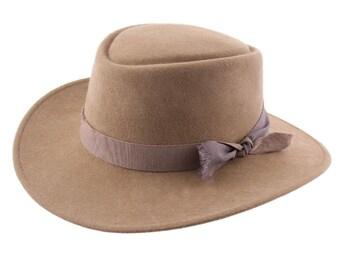 Felt cordobes Hat - Camel- Handmade - Crushable and Waterproof -  Women's or Men's hat