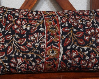 Golconda 1 black series: cover 30x50cm (12 x 20 inches) cushion, cotton Indian kalamkari floral, black, ochre and Red patterns.