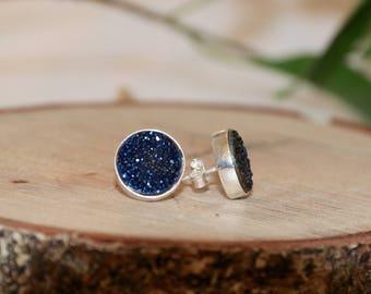Round Cobalt Blue Druzy Crystal Sterling Silver Stud Earrings