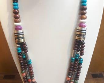 Authentic Native American Navajo Handmade multistone beaded necklace