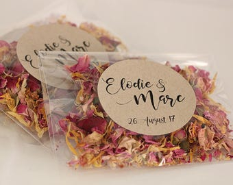 Personalised Wedding Confetti ~ 'SOLSTICE'  ~ Eco Petal Toss ~ Rose and Marigold~ Biodegradable Wedding Favour