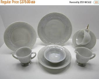 Holiday Sale 20% Off 1950's Vintage Mid Century Fire King Heat Proof Gray Luster Laurel Anchorglass 38 Piece Luncheon Set