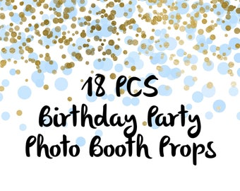 18PCS Birthday Photo Booth Props, Party Props, Photo Booth Props, Party Supplies, Party Decor, Party, Photo props, Baby Shower