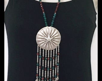 Gypsy Style Green and Red Carnelian Stones, Round Sterling Silver Pendant with Tassel Necklace, Long Silver Necklace with stones and Tassel