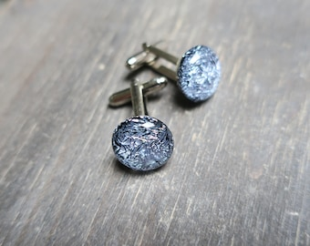 Silver Dichroic Glass Cufflinks