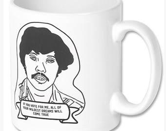 Napoleon Dynamite Pedro Samchez Hand illustrated white ceramic mug in giftbox. 325ml