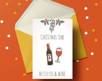 Mistletoe & Wine Christmas Card - Wine, red wine, wine lover gift, gin gift, wine print, christmas card handmade, christmas card pack