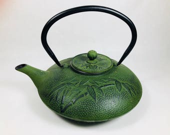 Vintage Green Cast Iron Japanese Teapot Kettle with Strainer