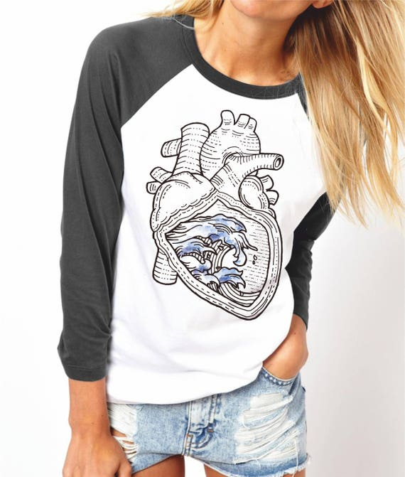 Ocean Heart | Unisex Raglan T-Shirt | 3/4 sleeves | Basketball shirt | Apparel for her / him | Pen and Ink| Surfers Tee | ZuskaArt