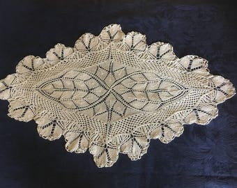 Vintage French Hand Crotcheted 68 cm Doily , Mat, Home Decor