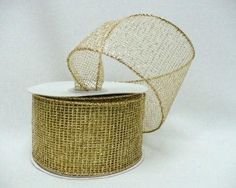 "Gold net, metallic gold net, gold metallic wired 2"" x 10 yards"