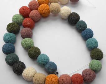 12mm Multi Colored Lava Beads Dyed Natural Lava Bead Rounds 15 inch Strand 34 Beads 1mm Hole Size