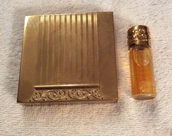 Vintage Avon Compact and Matching Perfume Roll on Bottle