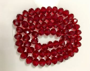 Dark Siam faceted rondelles, 6x8mm (72)/glass rondelles/faceted beads/ red rondelle