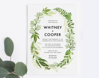 Botanical Wedding Invitation Set, Greenery Wedding Invitation Set / Printable PDF