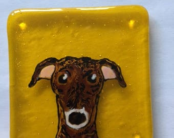 Dylan the Greyhound Fused glass coaster