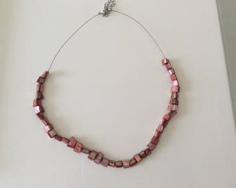 Coral stone bead necklace