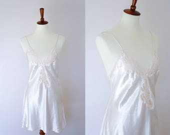 Small 1980s Vintage Satin White Nightie Slip Dress • Pink Front Lacing • Val Mode