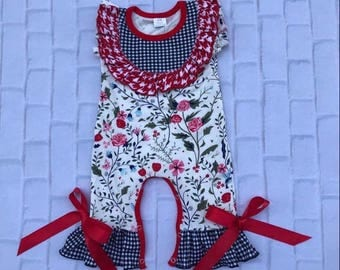 Red and black floral romper