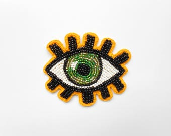 Embroidered Eye Patch,Embroidered Eye Brooch,  Eye Patch, Bead embroidery, Brooch, Beaded Brooch, Eye Beaded Brooch, Beaded patch, Evil Eye
