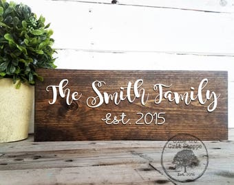 Family Name Sign | Family Established Sign | Wood Family Sign | Last Name Sign | Rustic Home Decor | Farmhouse Decor | Wedding Anniversary