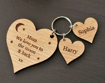 Personalised Wooden Heart Charm Keyring, Personalised Keyring Gift, Wooden Keyring , Wooden Heart Keyring, Mum Gift, Keyring for Mum