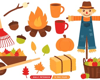 Fall Clip Art, Autumn Clipart, Scarecrow Clip Art - Commercial Use, Instant Download