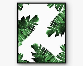 Tropical Print, Printable Palm Leaf Poster, Tropical Art, Tropical Leaf Print, Banana Leaf Poster, Palm Art, Tropical Plant Print, Plant Art