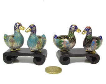 Miniature birds Set in Cloisonné