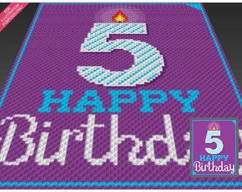 Happy Birthday 5 crochet blanket pattern; knitting, cross stitch graph; pdf download; no written counts or row-by-row instructions