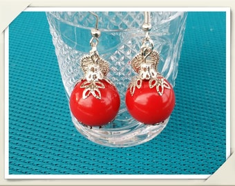 Handmade fimo earrings Red