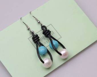 Handmade Pearl Earring,Blue Turquoise Stone Beaded Earring,Round Beads Dangle Jewelry,Statement Beaded Drop Hook Earrings Handmade